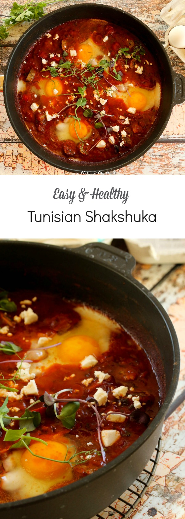 Tunisian Shakshuka - Eggs Gently Poached in a Harissa-Spiced and Herby Tomato Sauce for a Low-Calorie and Diabetic-Friendly Lunch or Dinner