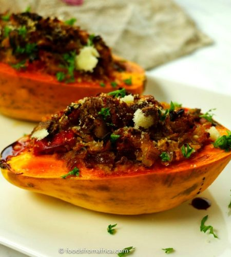 Spicy+roasted+papaya+and+fonio+boats