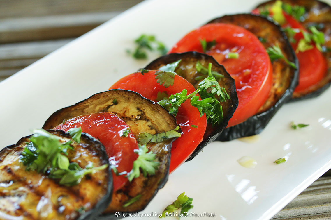 Roasted Eggplant adds a smoky flavour to the carefully combined flavours of tomato marinated in fragrant herbs and lemon juice resulting in a healthy salad that is vegan, and low in carbs and calories.