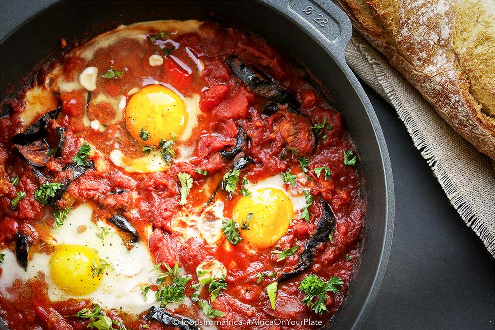 Tunisian+roasted+eggplant+(aubergine)+shakshuka
