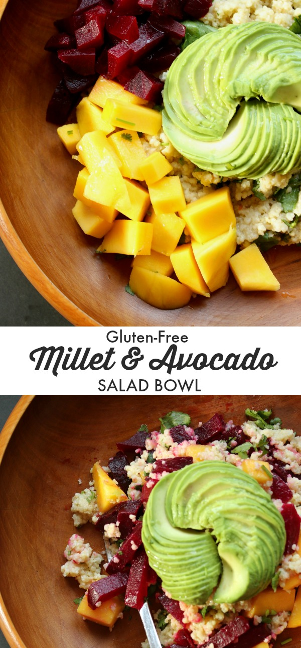 Toasted Millet meets Creamy Avocado in a Tropical Salad Bowl for an easy and quick vegetarian or vegan gluten-free and low-calorie lunch or dinner idea.
