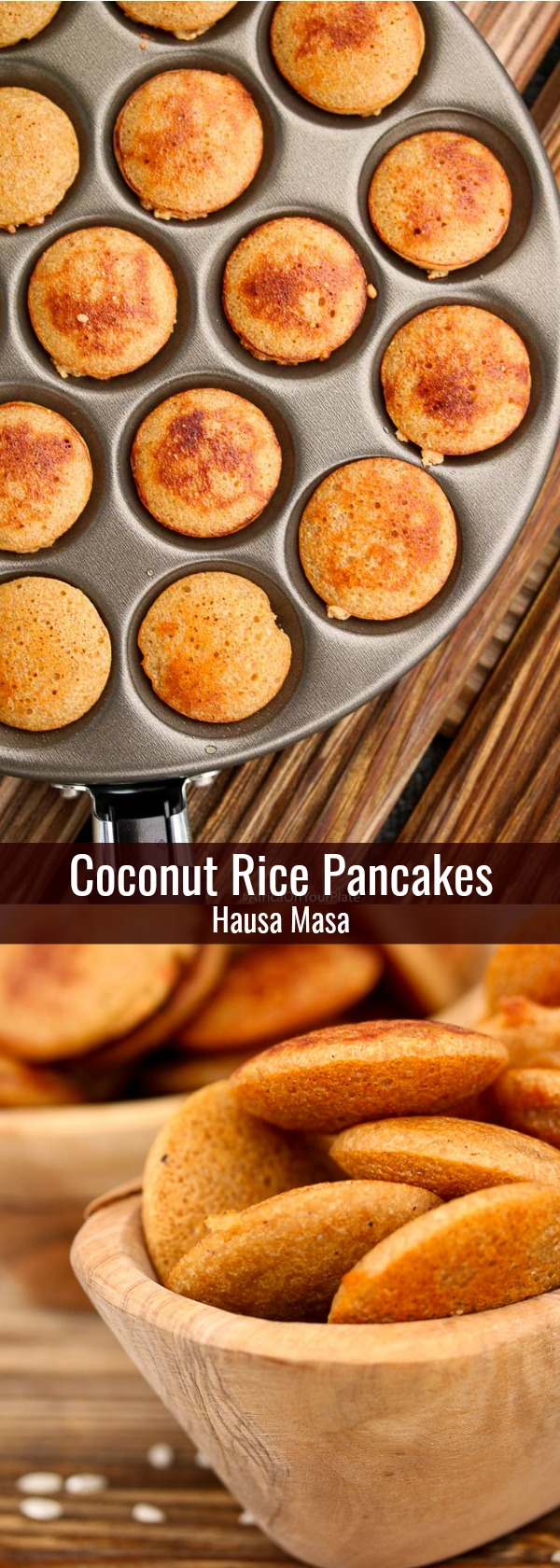 These Coconut Rice Pancakes (Hausa Masa) are a delicious twist on the Nigerian Hausa Masa with a slightly crusty exterior and a light fluffy interior. Serve with some maple or date syrup for a vegan and gluten free breakfast or snack idea.